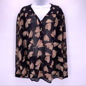 Lucky Brand Sheer Floral Blouse Size XL